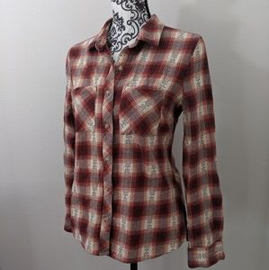 Francesca's Button Down Embroidered Flannel Med